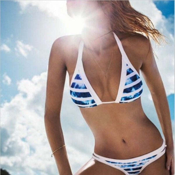 bikini con rayas azules aliexpresero