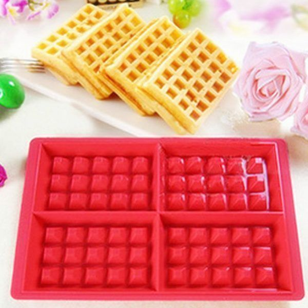Free-shipping-1-piece-4-Rectangles-Waffle-Cake-Chocolate-Cookie-Mold-Food-Grade-Silicone-Mould-Baking