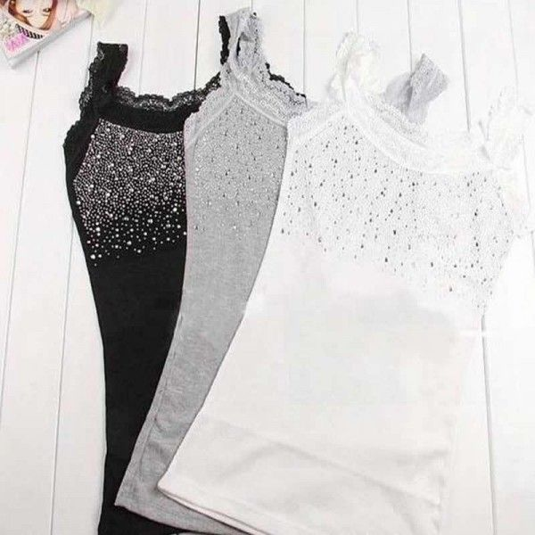 camisetas de tirantes con pedrería en aliexpress