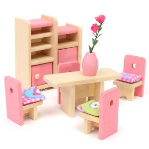 Wooden-Delicate-Dollhouse-Furniture-Toys-Miniature-For-Kids-Children-Pretend-Play-6-Room-set-4-Dolls