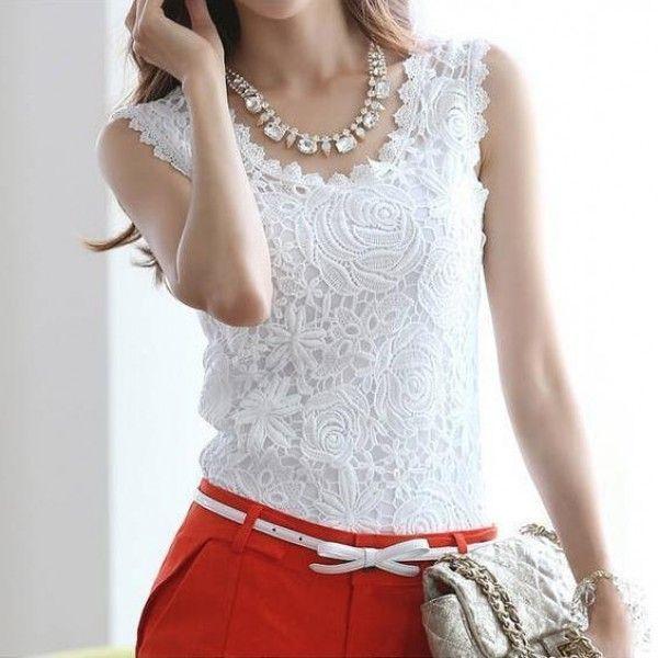 blusa de encaje blanca en aliexpress
