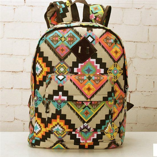 Korean-Ethnic-Women-Shoulder-Backpack-Canvas-School-Bag-Casual-Travel-Rucksack-Free-Shipping