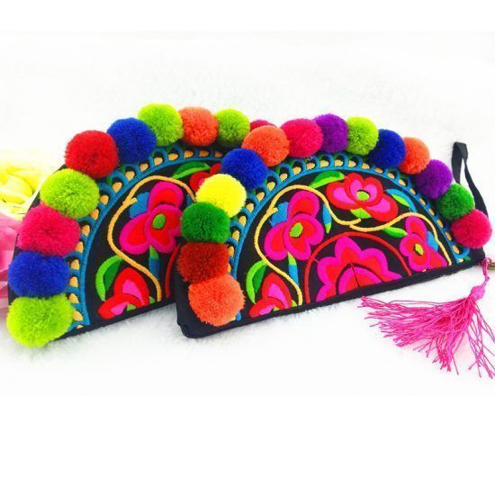Newest-Ethnic-original-Embroidery-bags-Vintage-Handmade-multicolour-Pompom-Clutches-Bags-Personalized-Phone-Mp4-Coin-Small