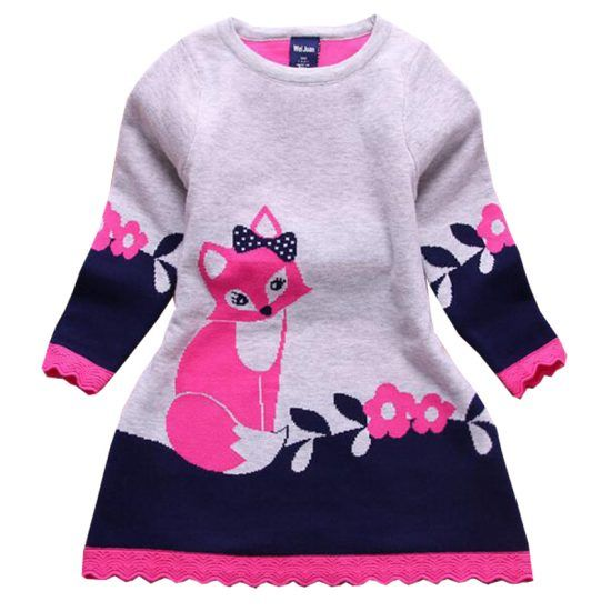 2016-autumn-new-fashion-sweater-dress-long-sleeve-kids-girl-dress-thick-girl-fox-sweater-dress