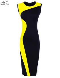 Vestido bicolor sin mangas ceñido