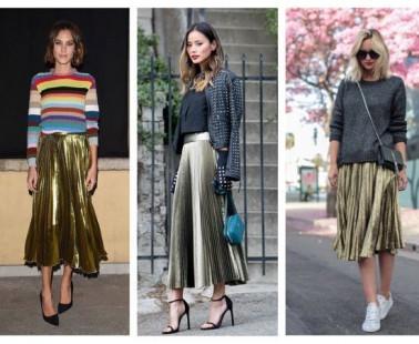 6 faldas plisadas metalizadas que arrasan esta temporada
