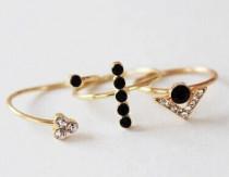 pack de 3 anillos dorados