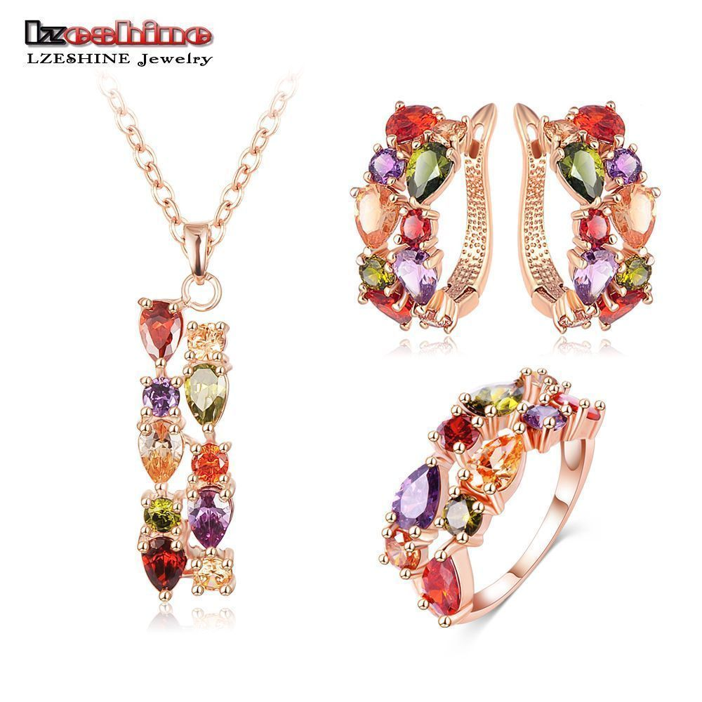 anillo pendientes y colgantes de colores